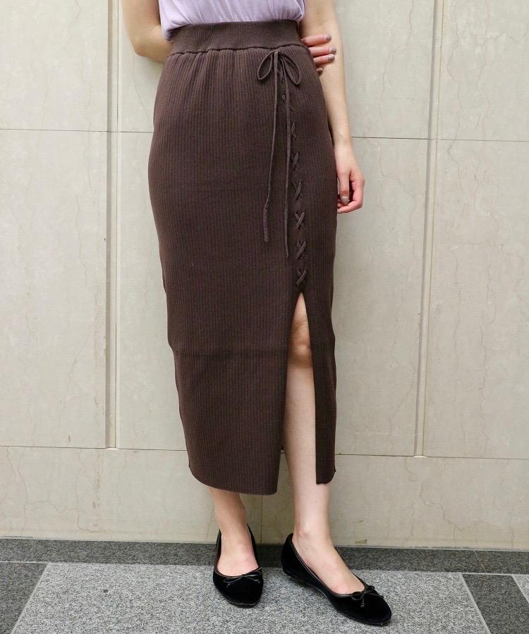 リブレースアップタイトスカート