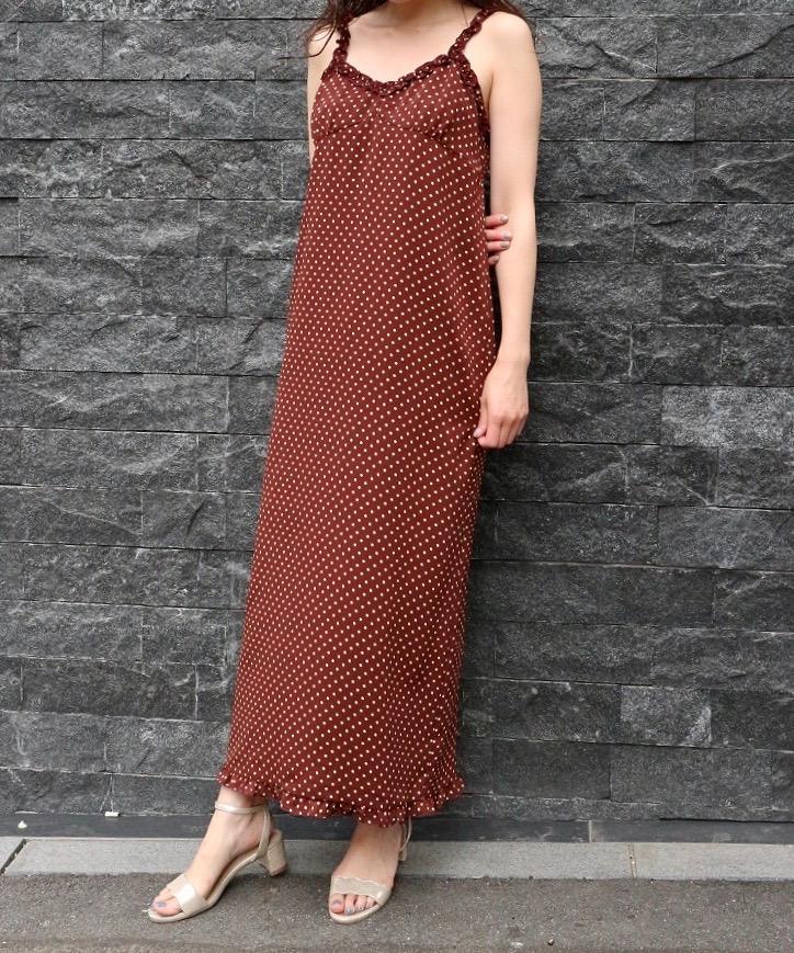 ドットフリルキャミドレス