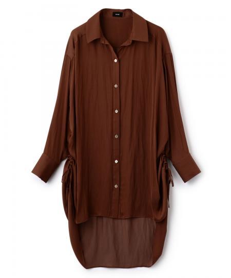 Side Shirring Satin Blouse