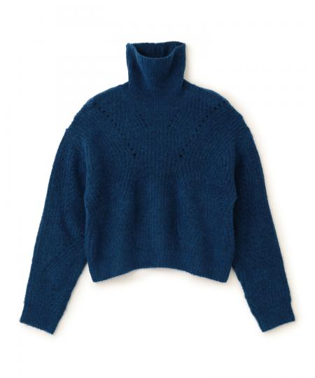 Mohair Mix Eyelet Knit Pullover