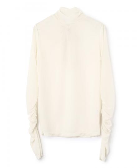 Sheer Jersey High Neck Pullover