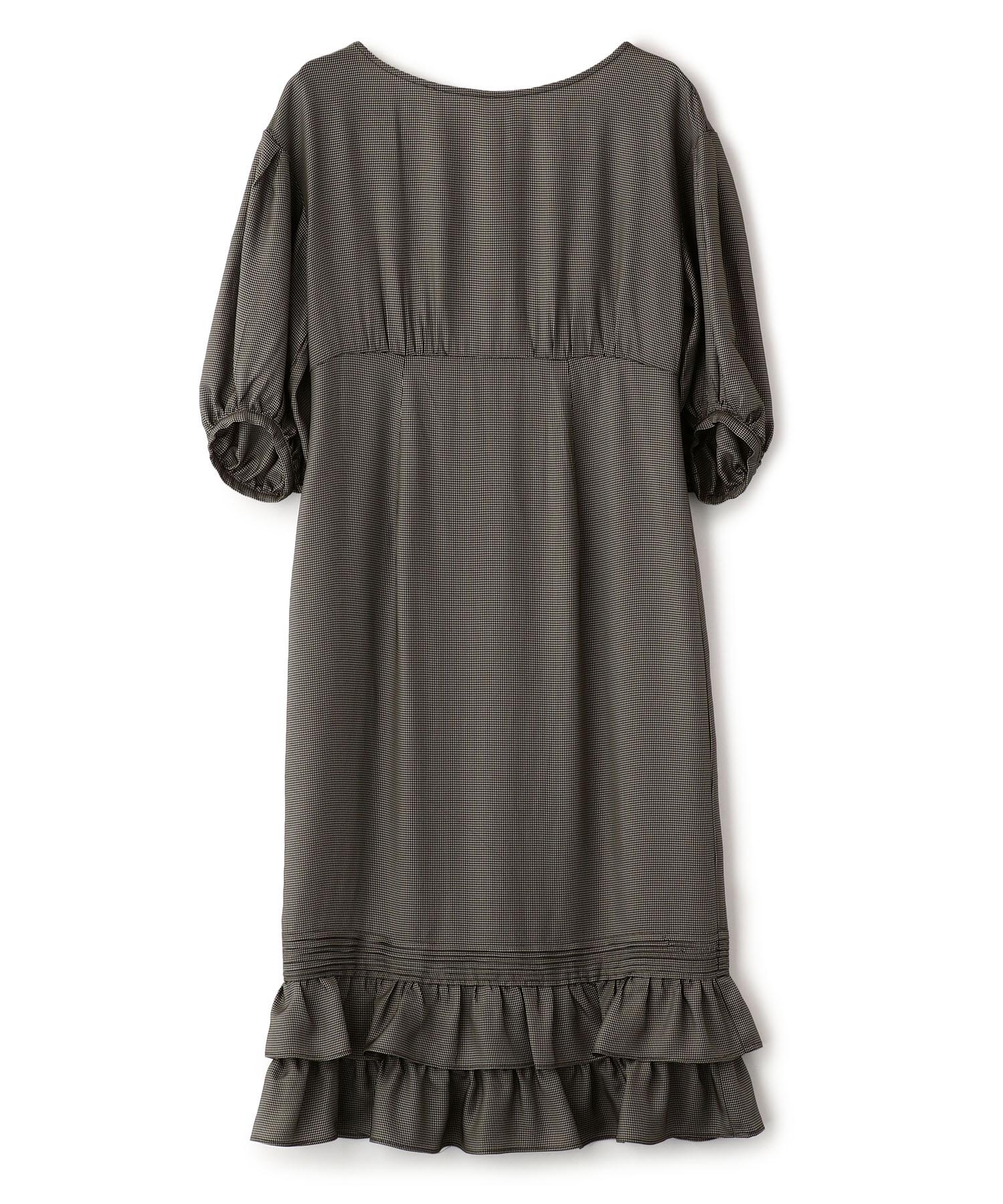 Hem Frill Houndstooth Check Dress
