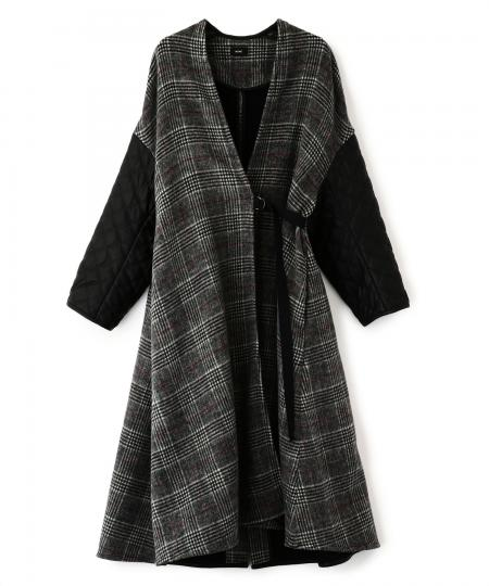 Check Sleeve Quilting Coat