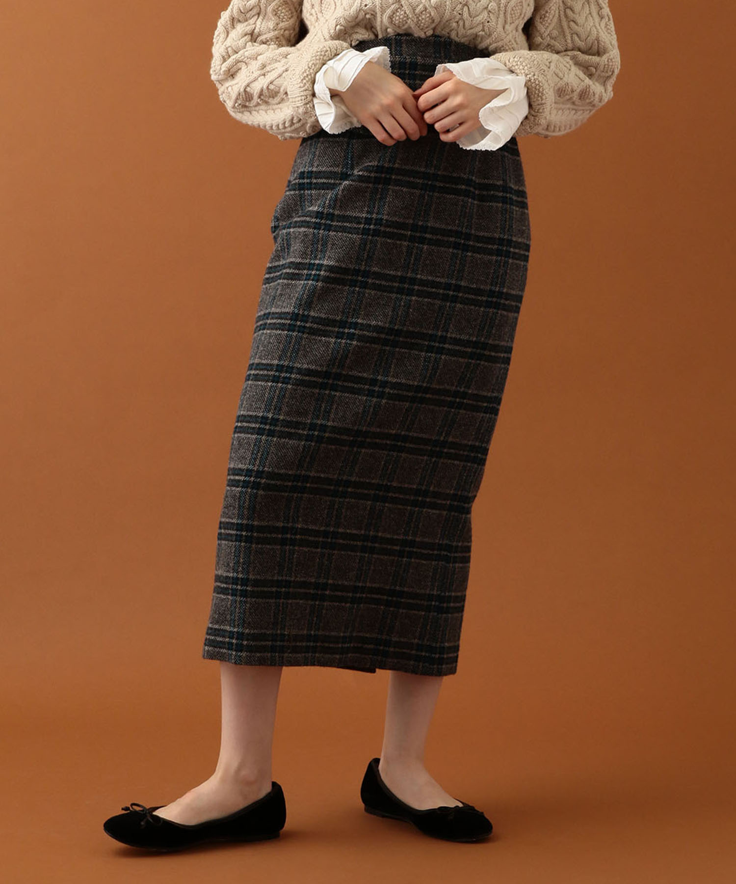 【先行予約・送料無料】UK WOOL チェックタイトスカート