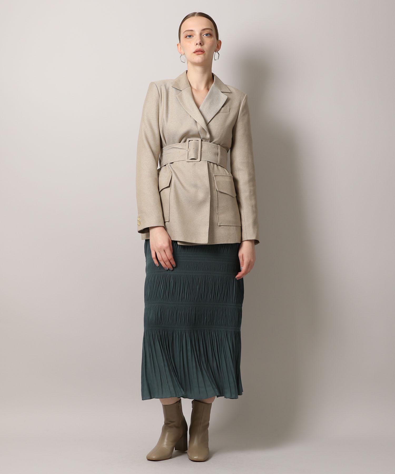 【先行予約10%OFF・送料無料】Shirring Pleats Skirt