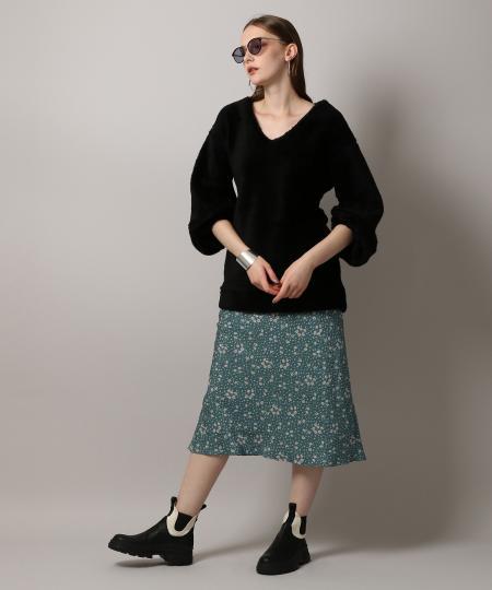 Crepe Flower Print Skirt