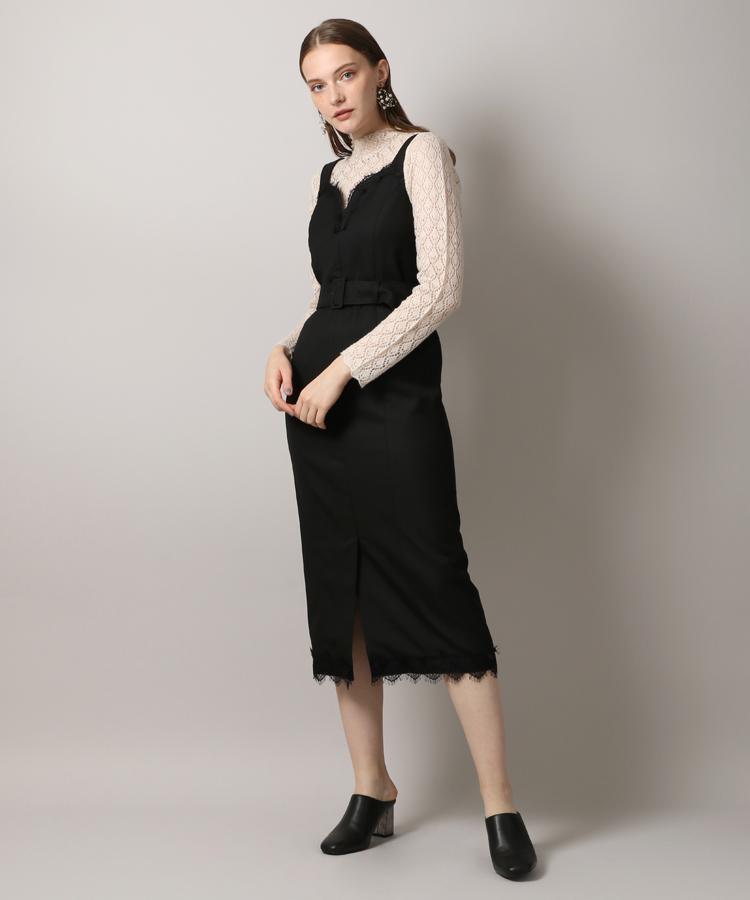 【先行予約・送料無料】Belted Lace Trimming Dress