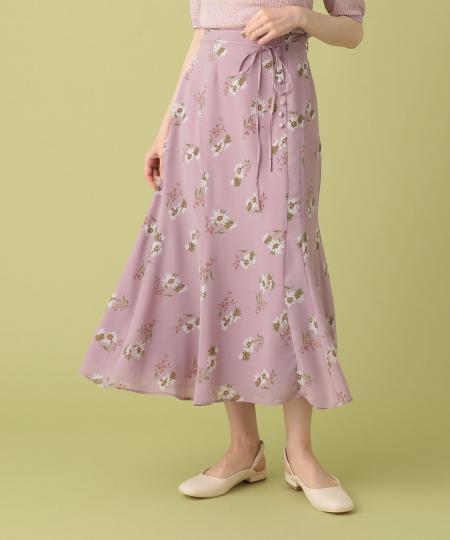 フラワーブーケプリントスカート