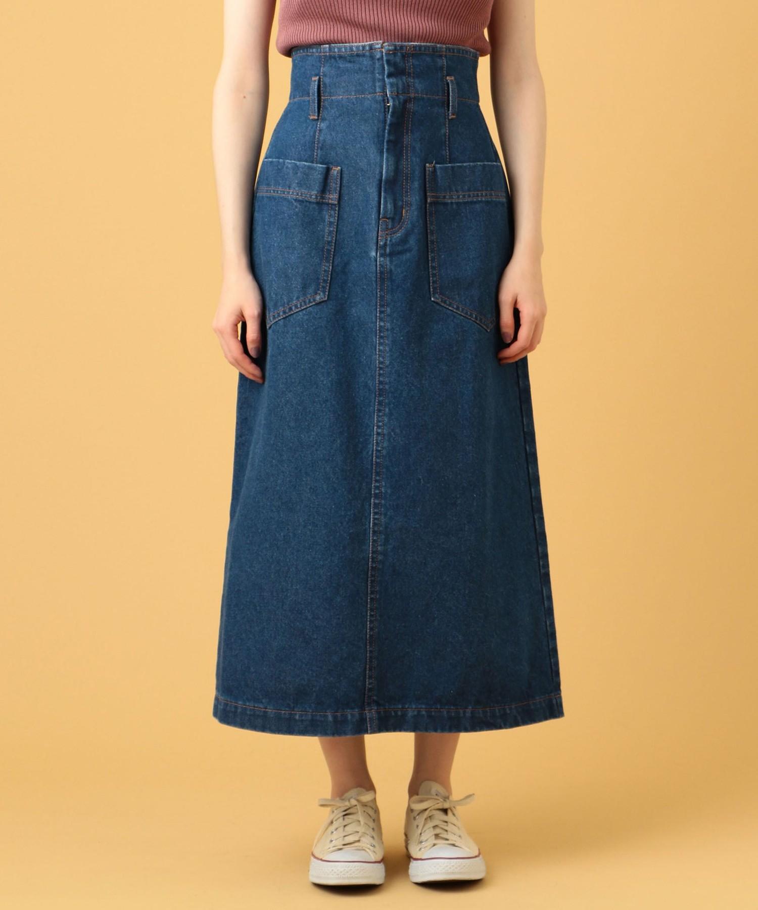 デニムミディパッチポケットスカート