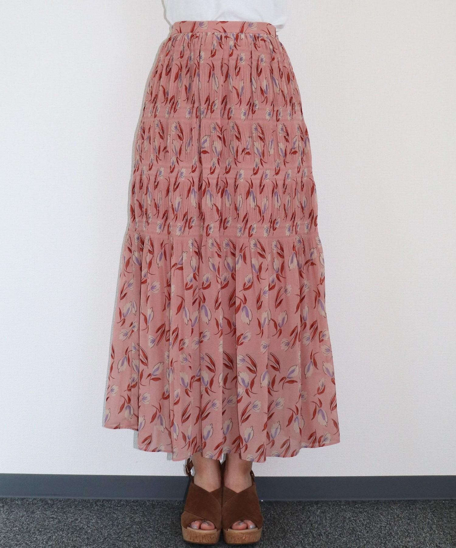 シフォンフラワープリーツスカート