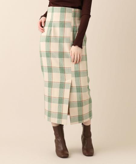 メルトンチェックタイトスカート