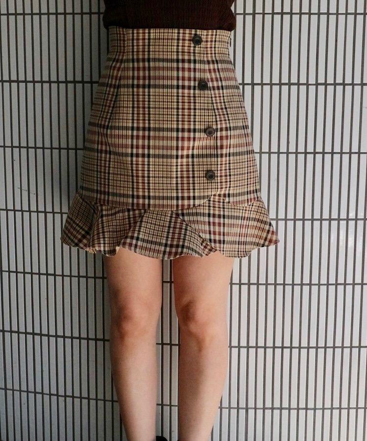 ヘムフリルチェックミニスカート