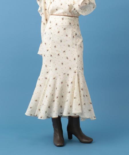 レトロブーケプリントスカート