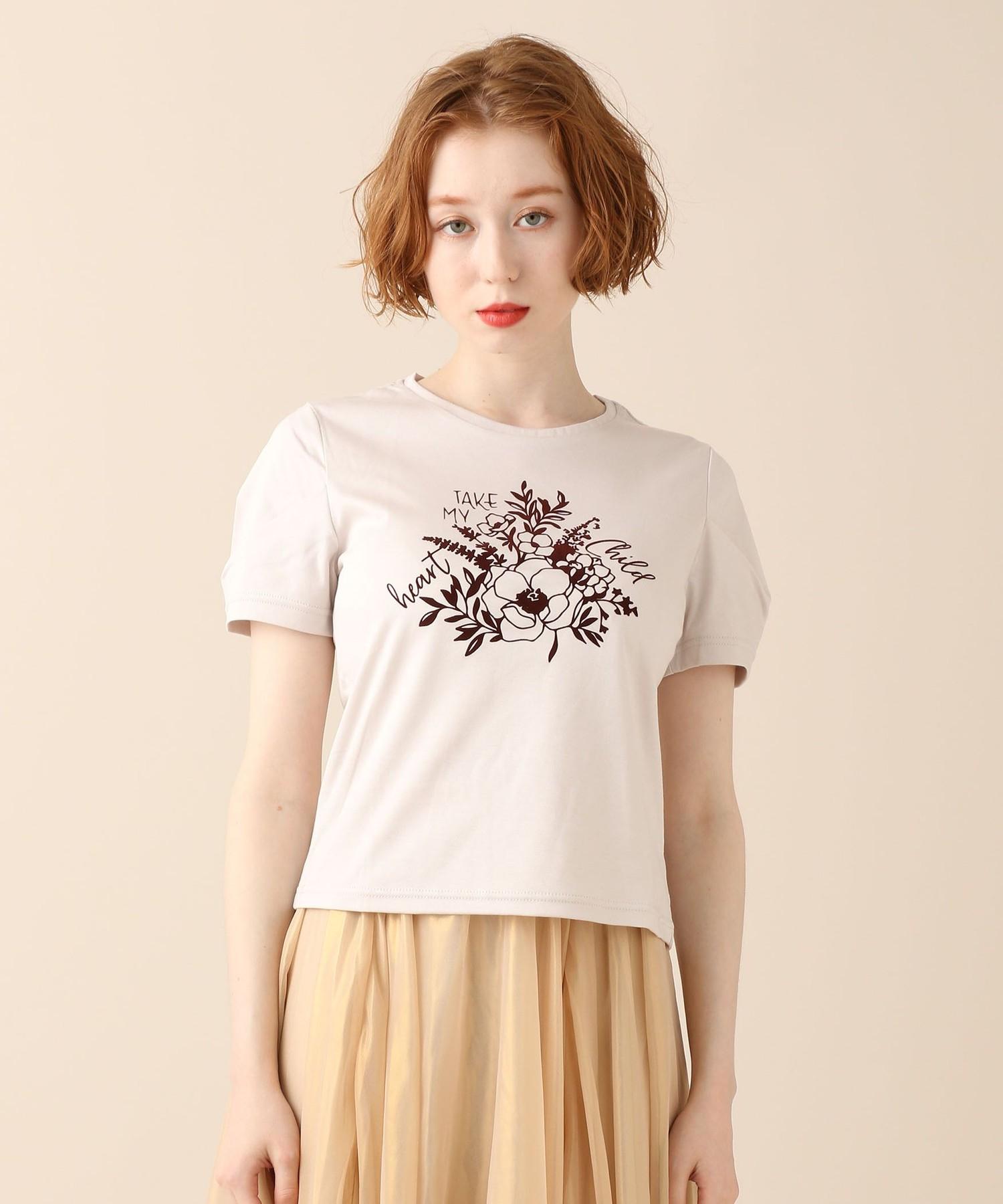タックスリーブプリントTシャツ