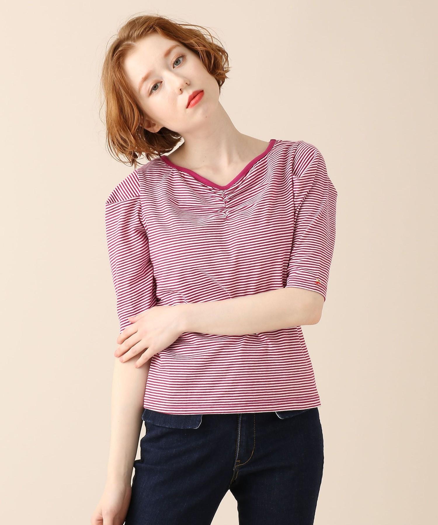 ボーダーハートネックパフTシャツ