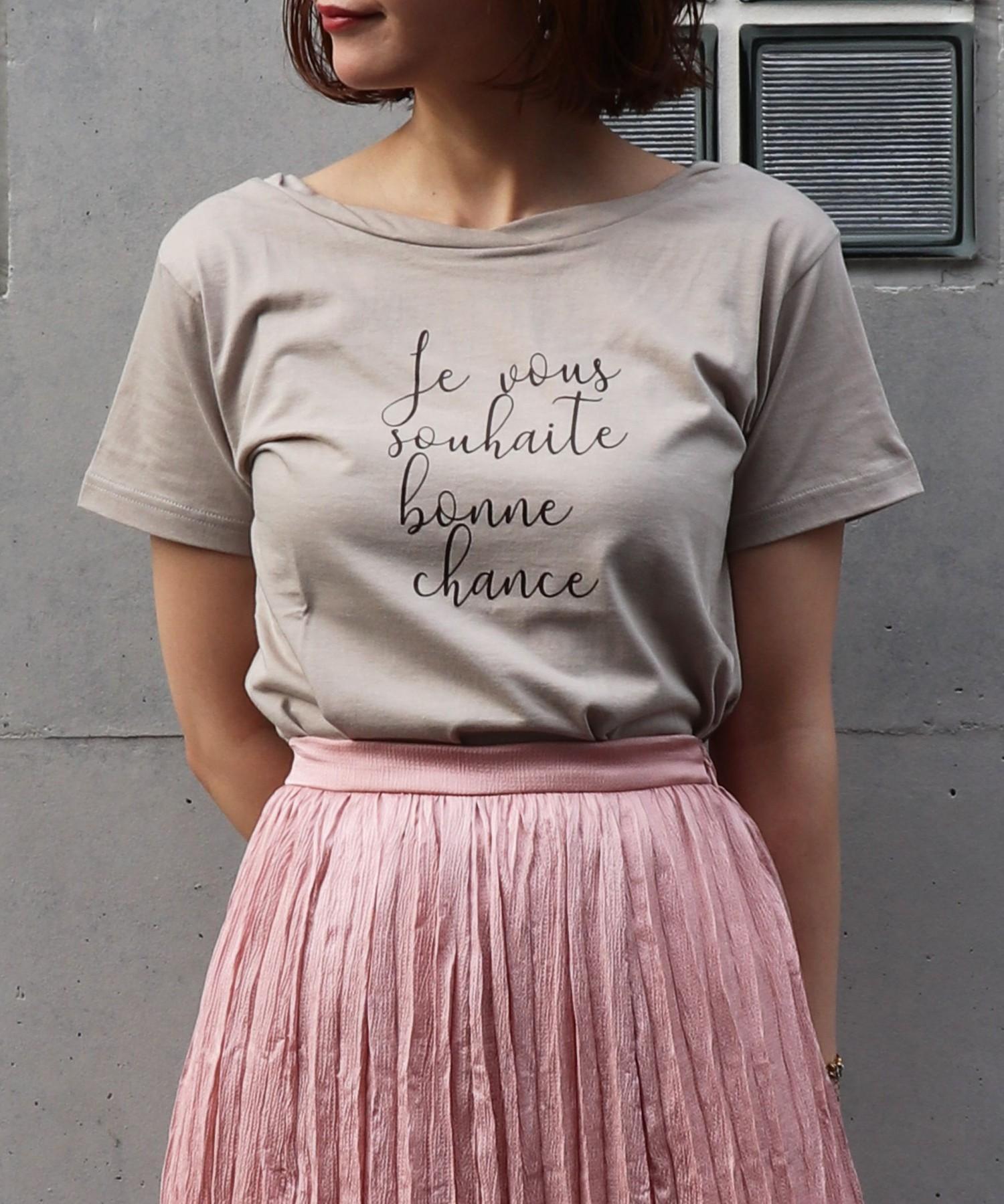 ツイストネックプリントTシャツ