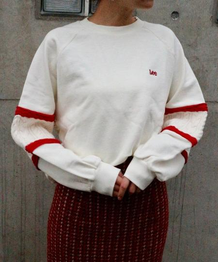 LEE knit panel sleeve sweat