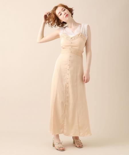 ハンマーサテンレースキャミドレス