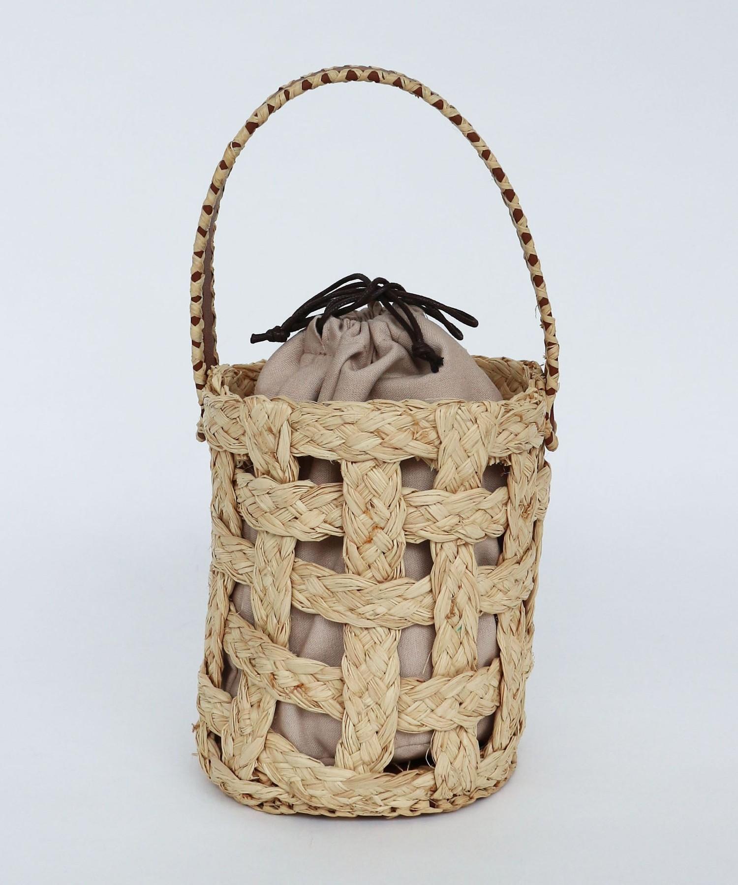 ラフィアグリッドバケットバッグ