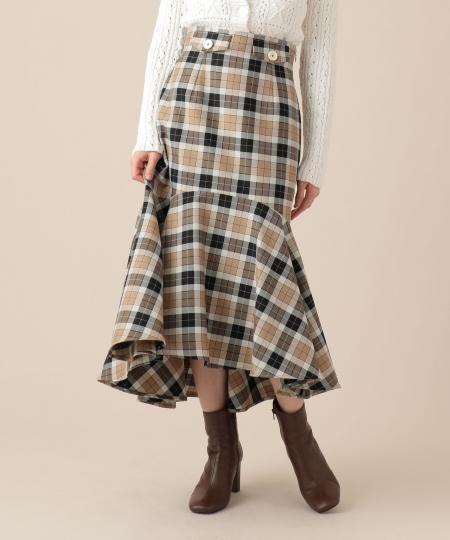 チェックウールマーメイドスカート