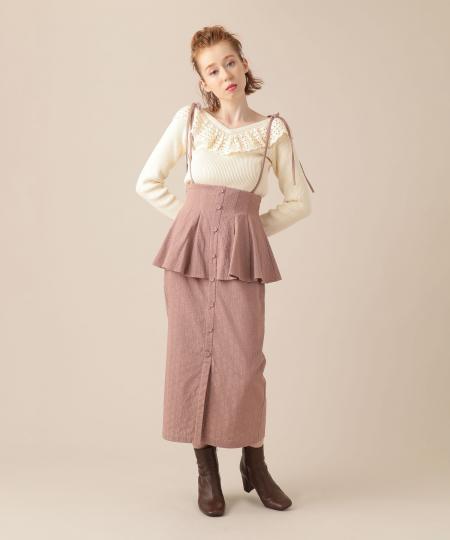 フローラジャカードぺプラムスカート