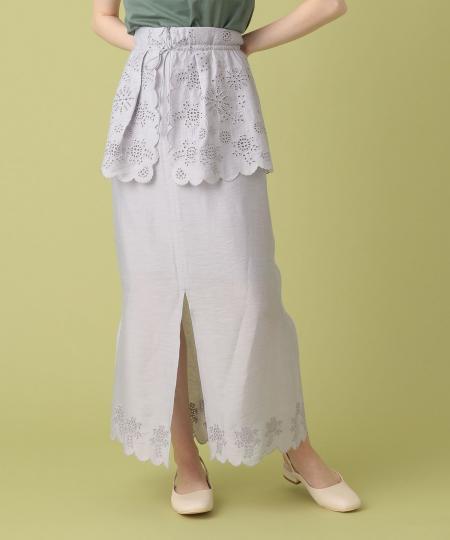 エンブロイダリーぺプラムスカート