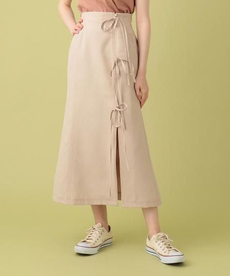 リボンラップミディスカート