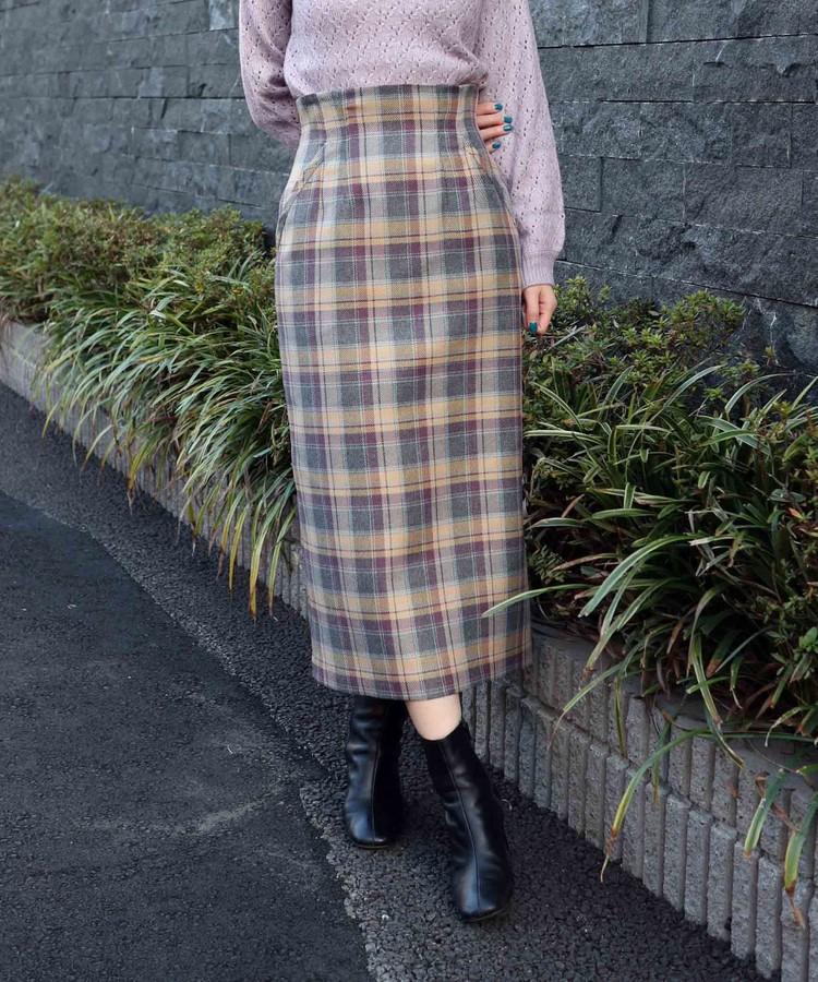 タスランチェックタイトスカート
