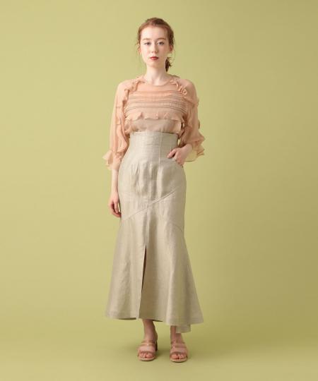 リネンシャンブレーパッチスカート