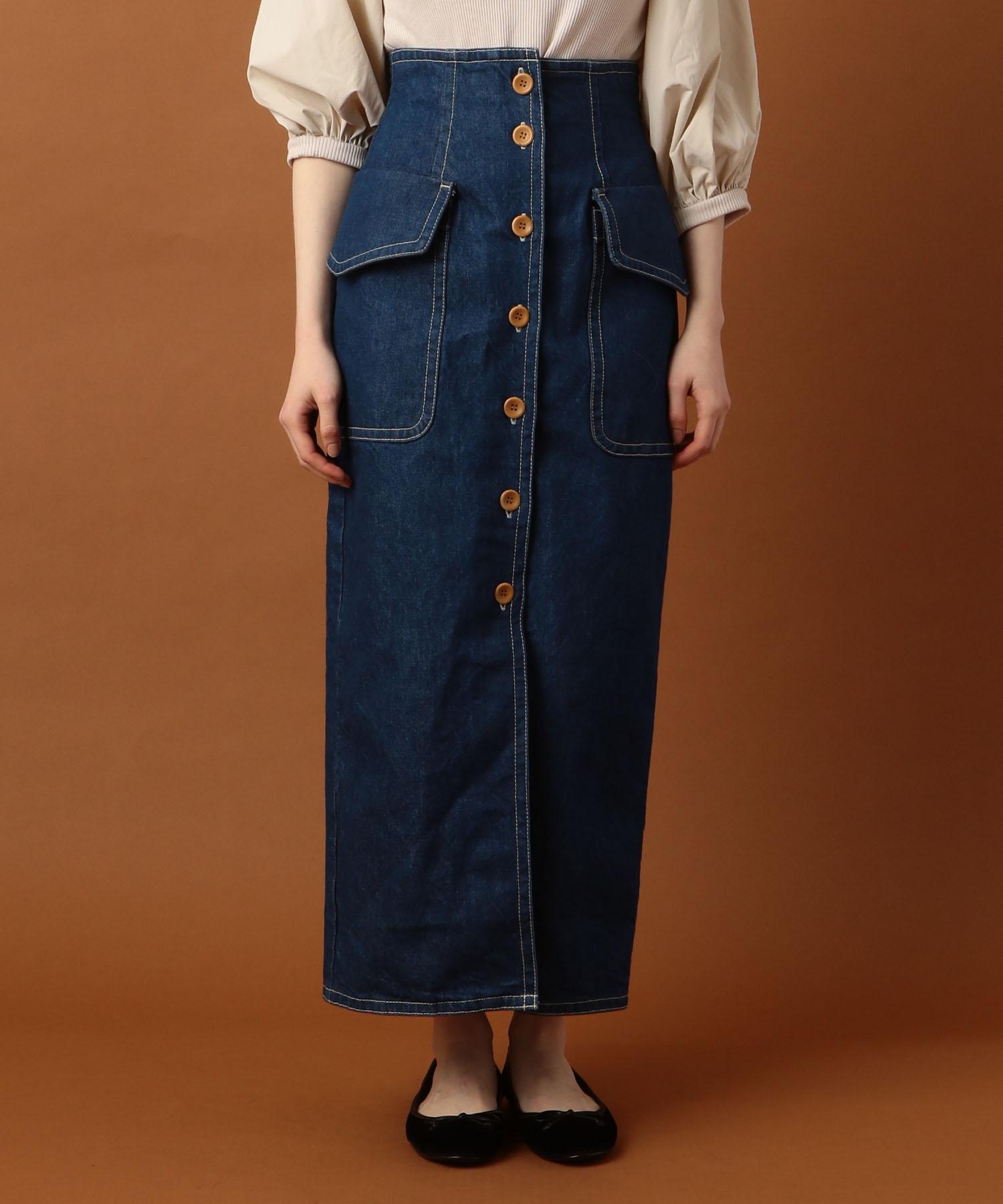 サファリデニムタイトスカート