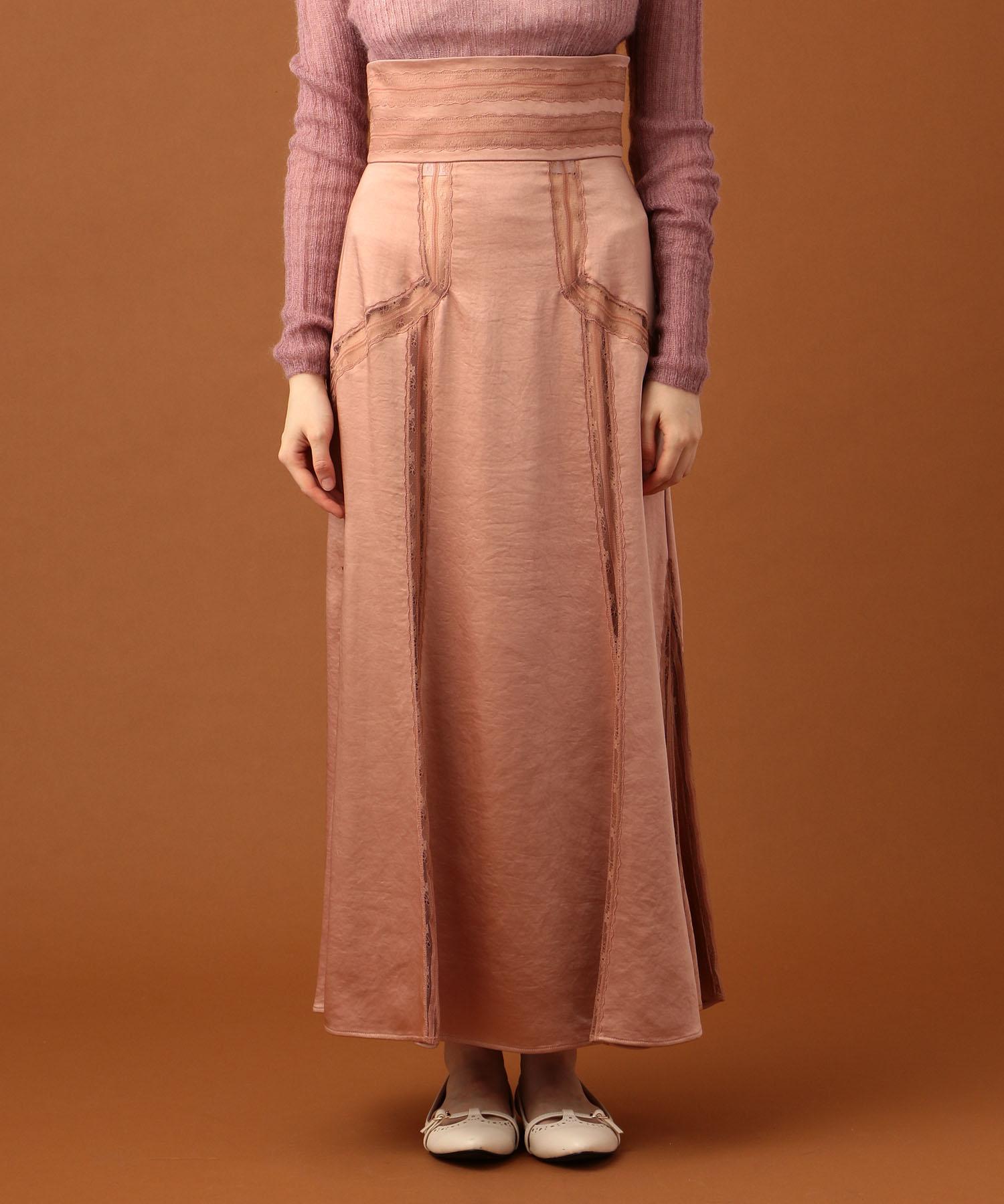 サテンレースmixレディスカート