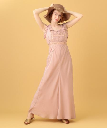 ピンストライプレースmixドレス