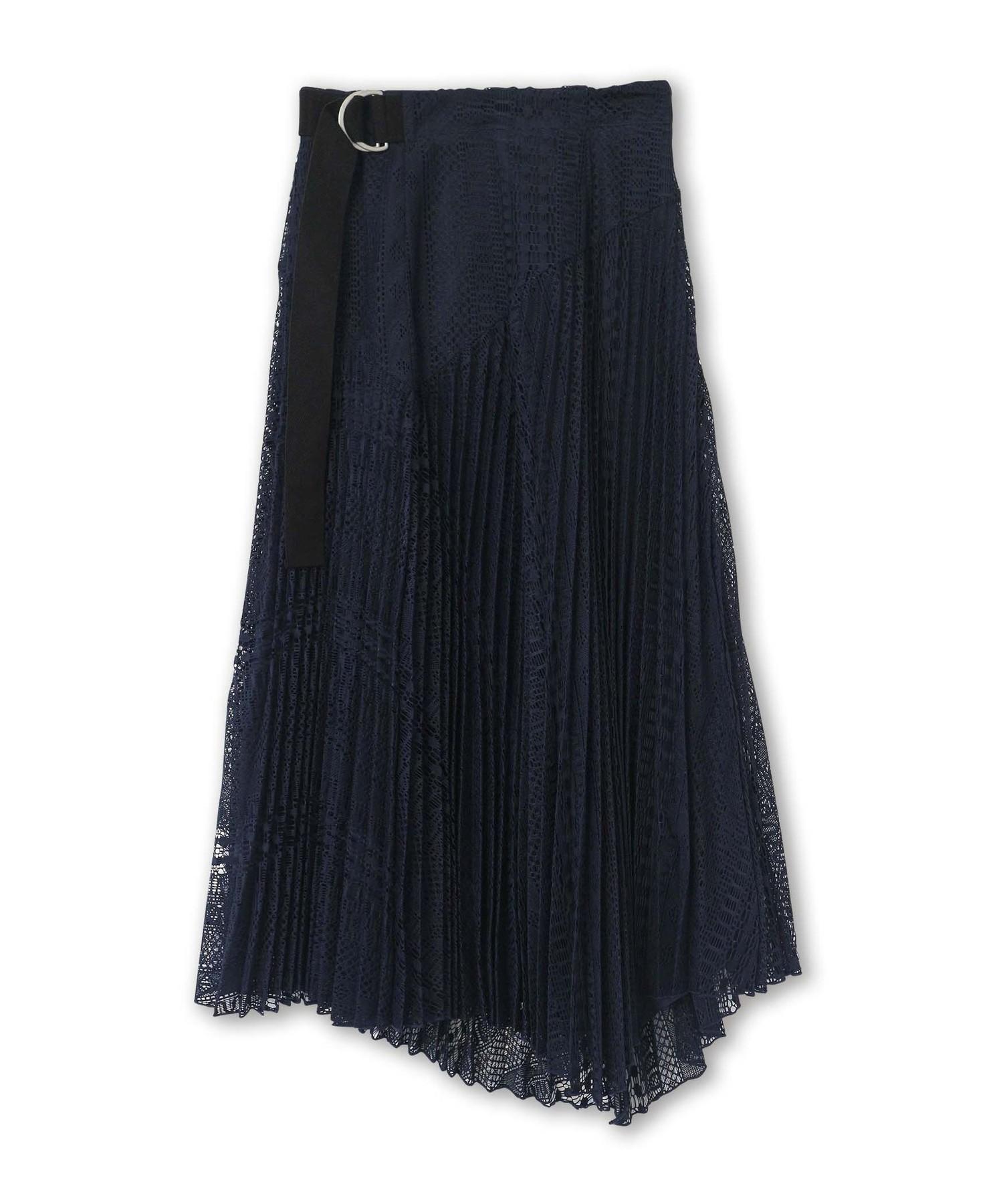 MIXレースプリーツスカート