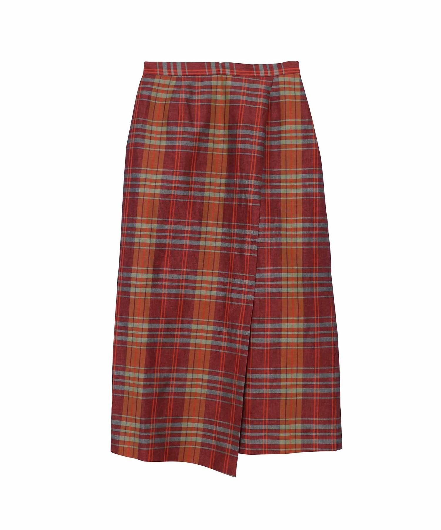チェックタイトラップスカート