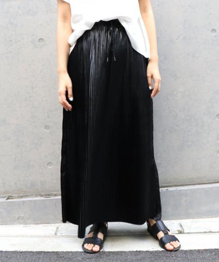 レザーサテンプリーツタイトスカート