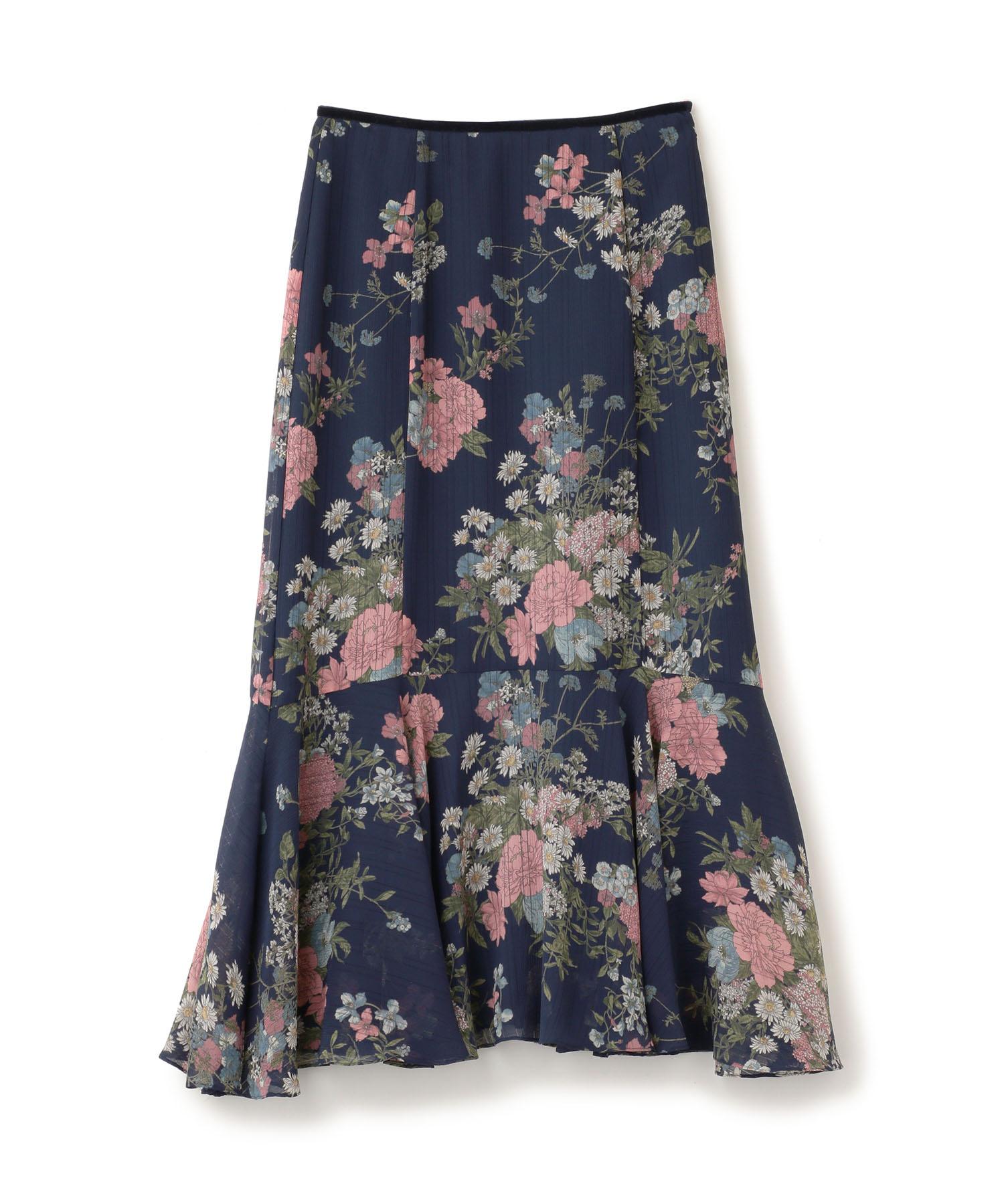 ストライプフラワープリントスカート