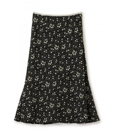 Crepe Flower Print Skirt