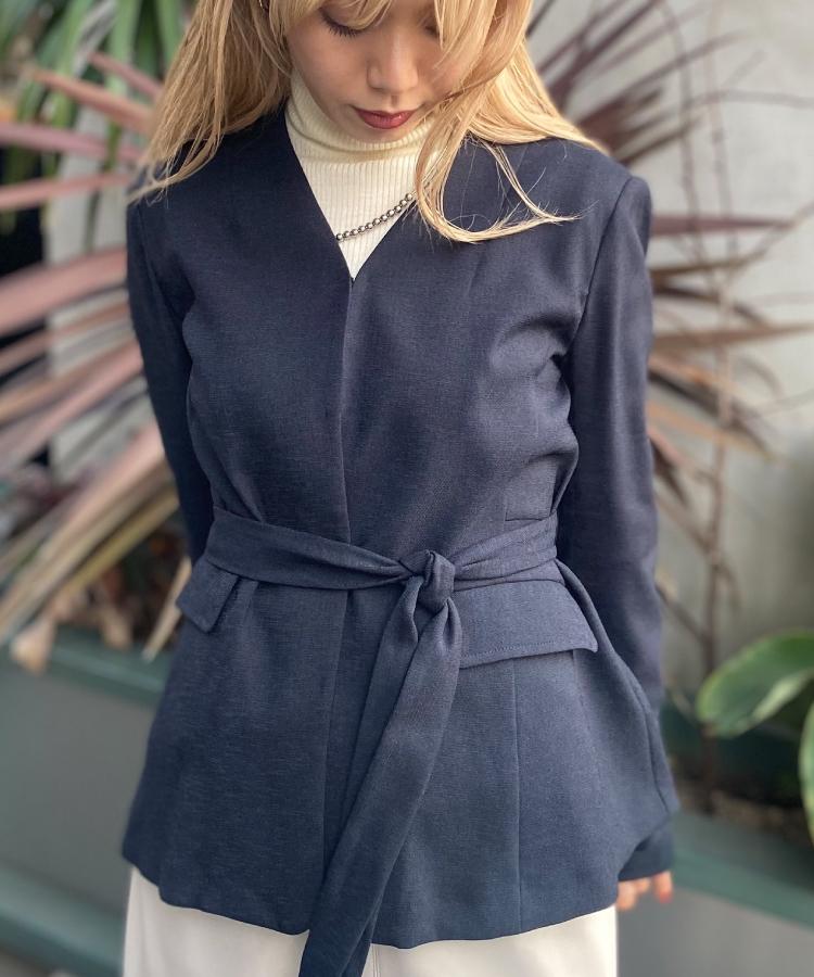 Linen Lke belt Jacket