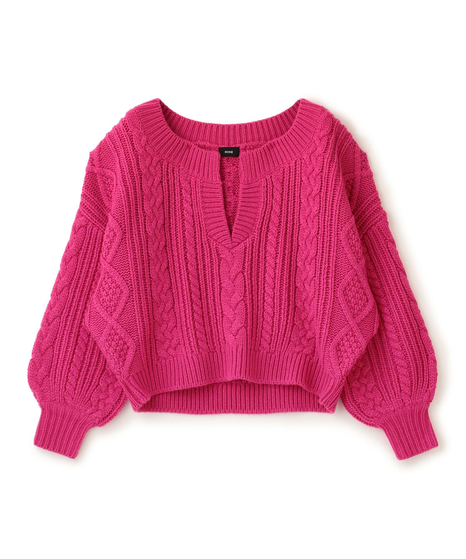 【WEB限定:ピンク】キーネックアラン編みプルオーバー
