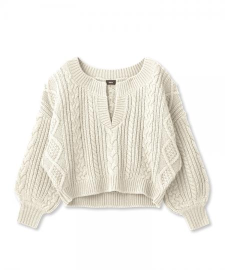 Key Neck Alain Knit Pullover