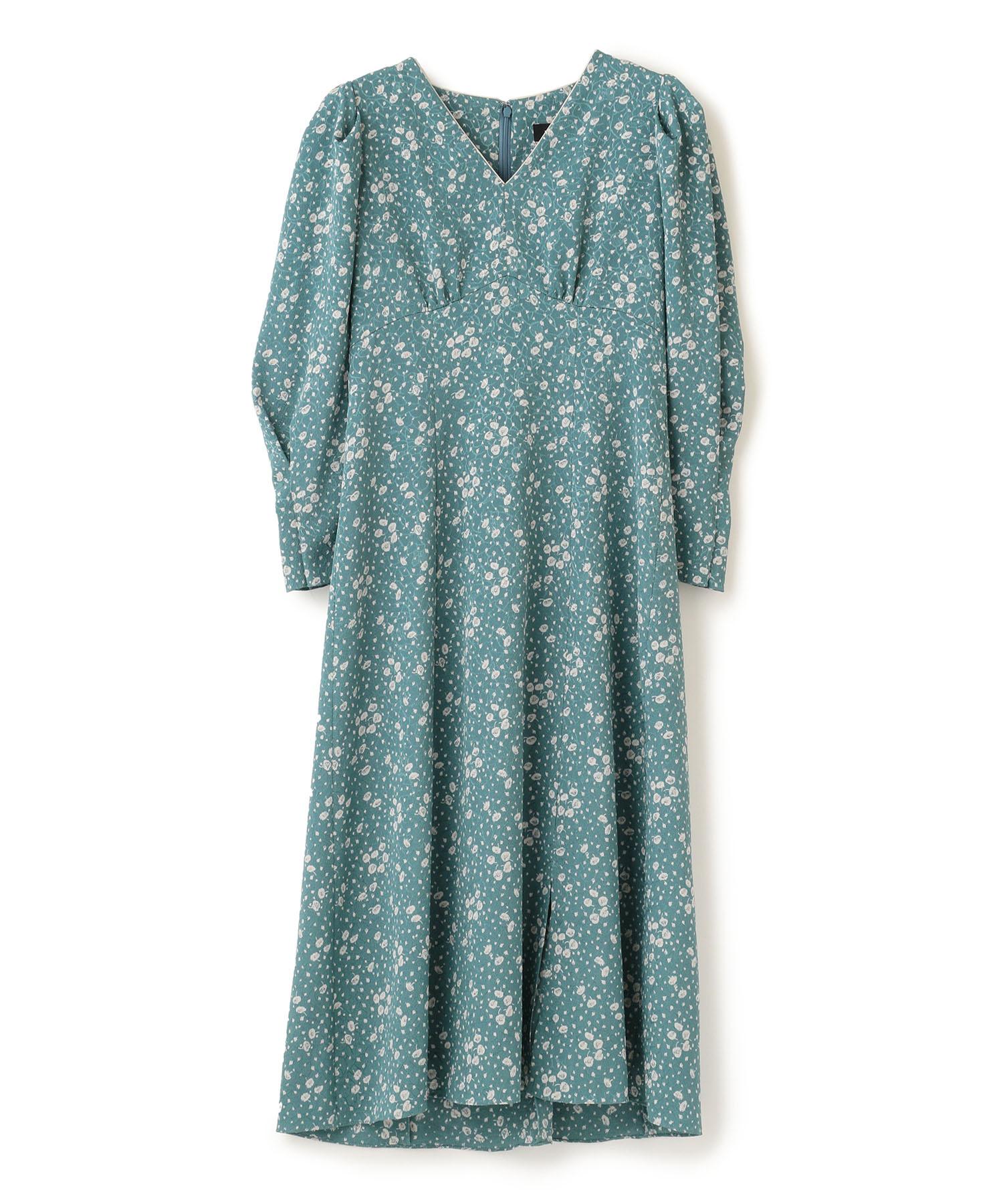 クレープフラワープリントドレス