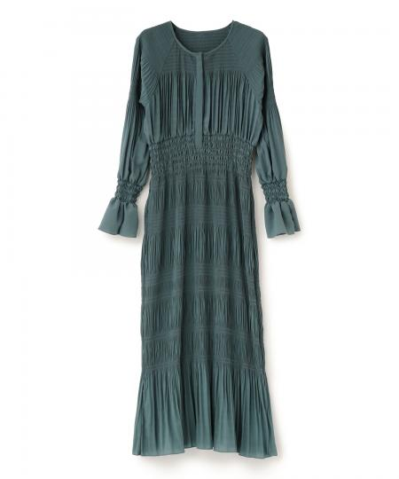 シャーリングプリーツドレス