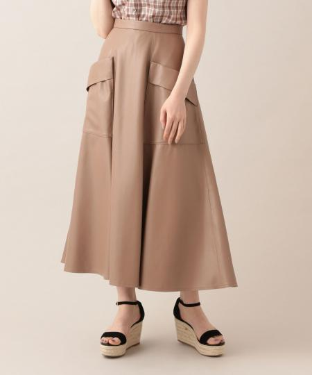 【予約】エコレザーフレアースカート