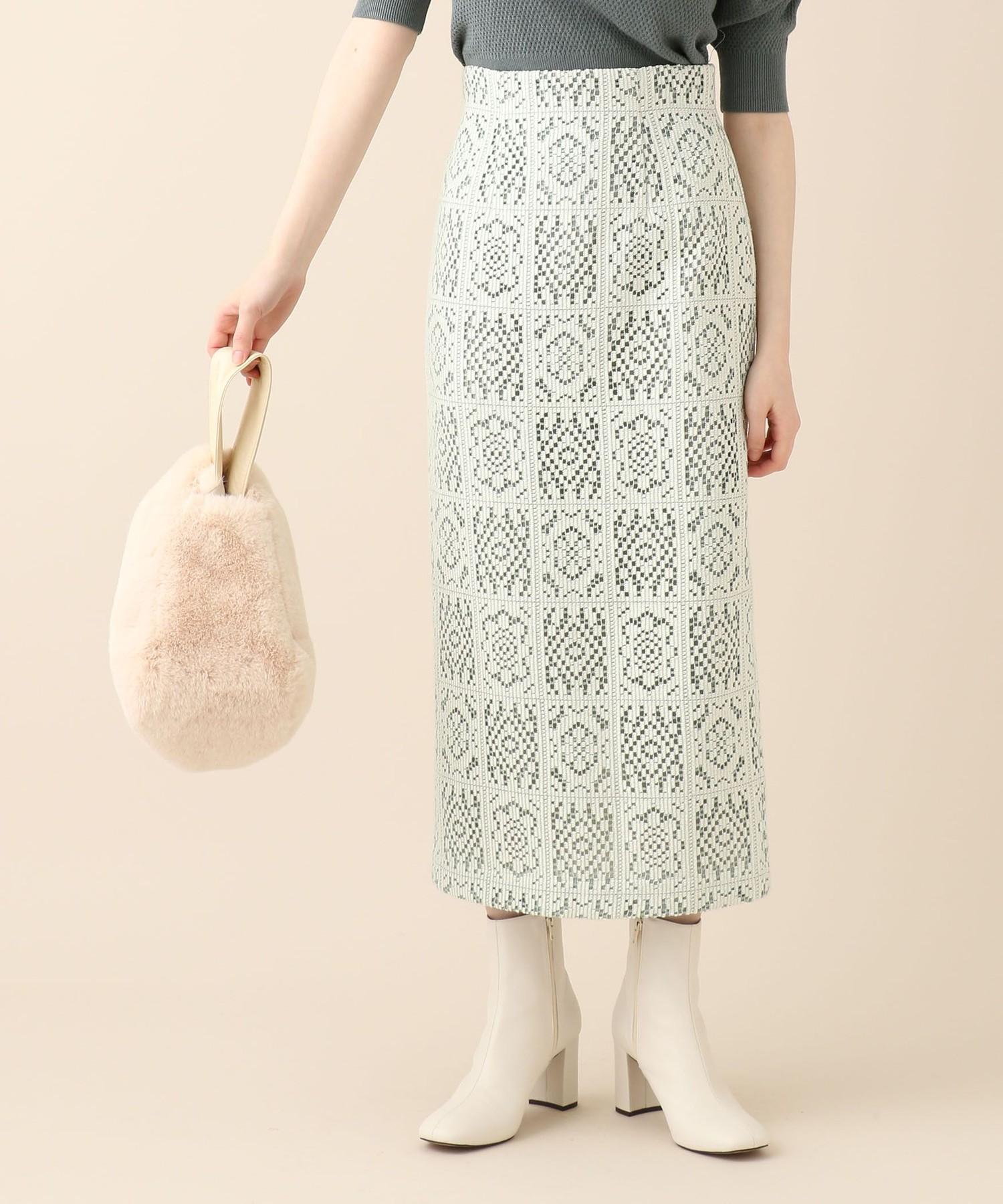 【予約】スクエアフラワータイトスカート