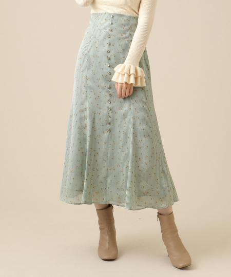 【予約】サテンストライプローズスカート