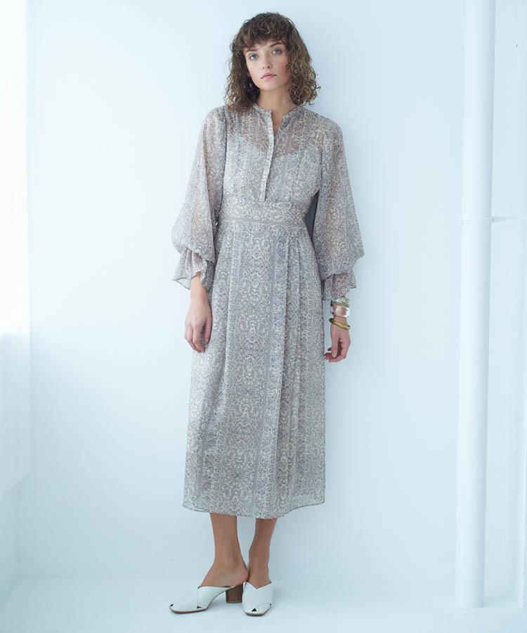 ペイズリーストライププリントドレス